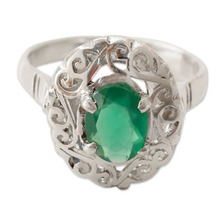 Sterling Silver 'Festivity in Green' Onyx Ring (India)