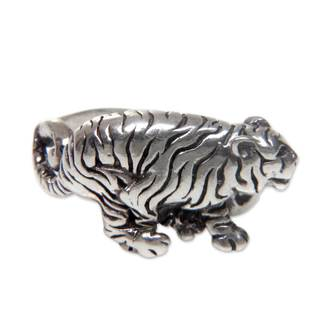 Handcrafted Men's Sterling Silver 'White Tiger' Ring (Indonesia)