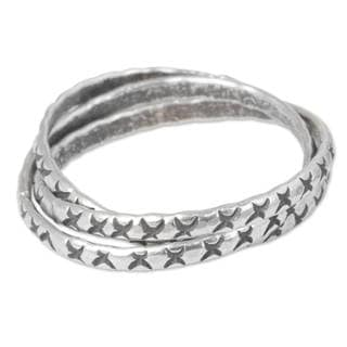 Set of 3 Handcrafted Silver 'Karen Trinity' Rings (Thailand)