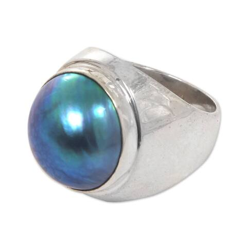 Handmade Blue Moon Pearl Sterling Silver Ring 14.5-15 mm (Indonesia)