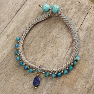 Handcrafted Brass 'Mae Sa Cascade' Multi-gemstone Bracelet (Thailand)