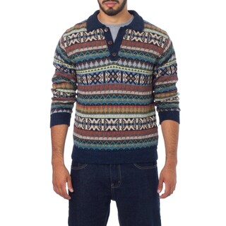 Handmade Men's Alpaca 'Pisac Casual' Polo Sweater (Peru)
