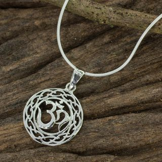 Handcrafted Sterling Silver 'Celtic Om' Necklace (Thailand)