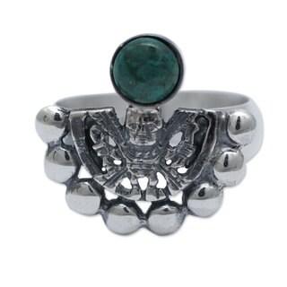 Handmade Sterling Silver 'Iridescence' Chrysocolla Ring (Peru)