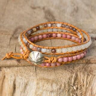 Handcrafted Leather 'Karen Rose' Multi-gemstone Bracelet (Thailand)
