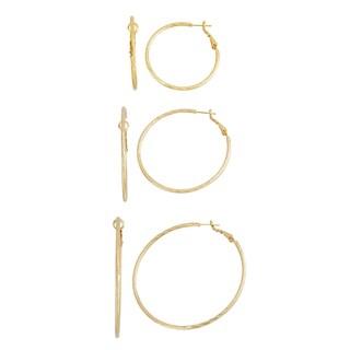 Isla Simone Women's Goldplated Textured Hoop Earrings (Set of 3)