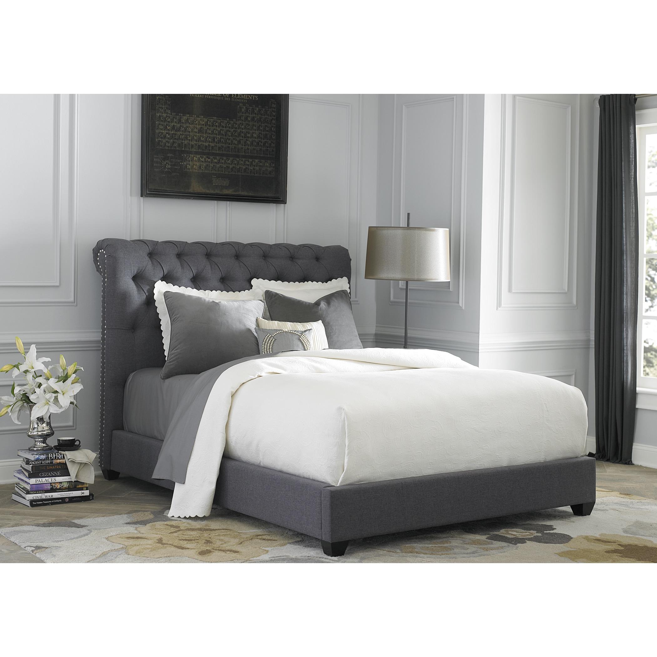 Liberty Dark Gray Linen Chesterfield Sleigh Upholstered B...