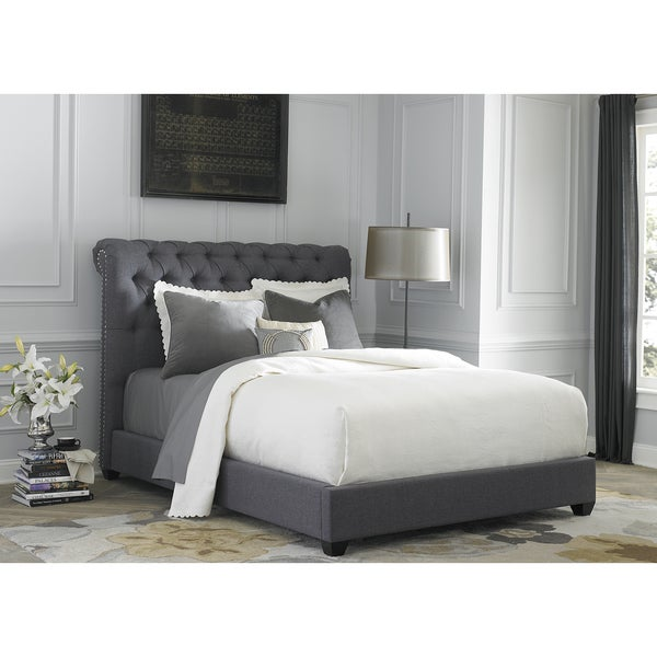 Dark Gray Linen Chesterfield Sleigh Upholstered Bed Set - Free ...