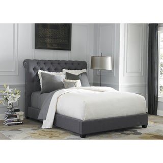 Dark Gray Linen Chesterfield Sleigh Upholstered Bed Set