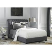 Dark Gray Linen Chesterfield Sleigh Upholstered Bed Set