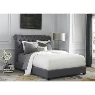 dark gray linen sleigh upholstered bed set