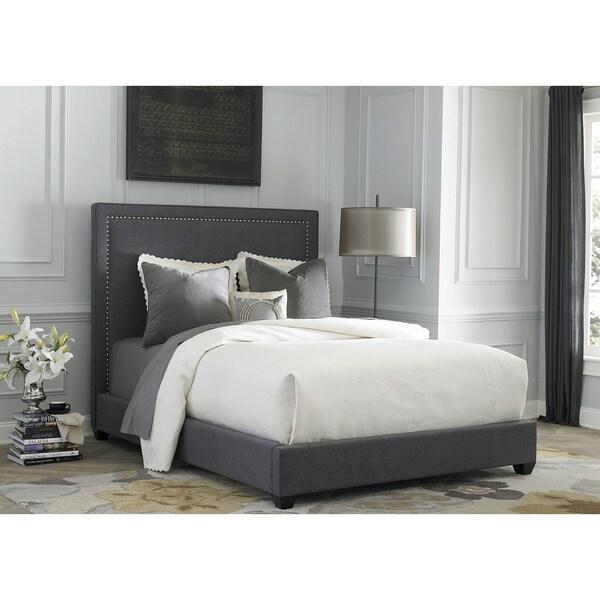 Shop Liberty Dark Gray Linen Upholstered Panel Bed Set
