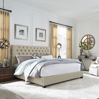 Natural Linen Upholstered Sloped Panel Bed Set
