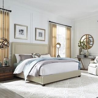 Natural Linen Wing Shelter Upholstered Bed Set