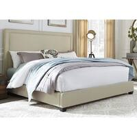 Natural Linen Upholstered Nail Head Panel Bed Set