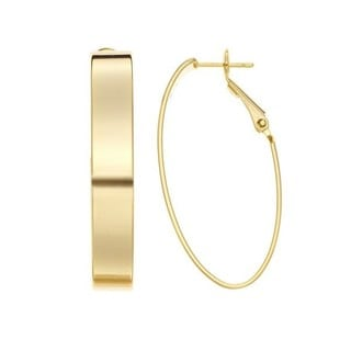 Isla Simone Women's Goldtone or Silvertone Oval Hoop Earrings