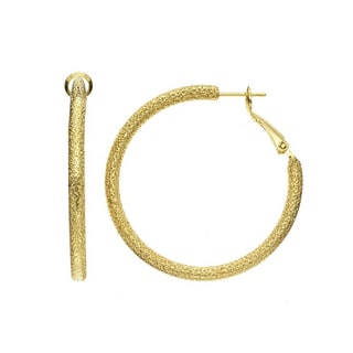 Isla Simone - Gold Plated Textured Round Earring