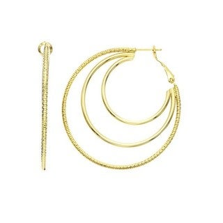 Isla Simone - Gold Plated 3 Row Earring Polished and Textured