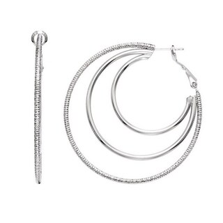 Isla Simone - Rhodium Plated 3 Row Earring Polished and Textured