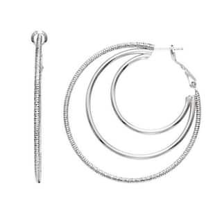 Isla Simone - Rhodium Plated 3 Row Earring Polished and Textured|https://ak1.ostkcdn.com/images/products/10792132/P17839472.jpg?impolicy=medium