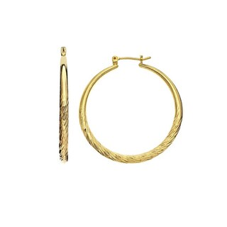 Isla Simone - Gold Plated Tapered Diamond Cut Hoop Earring