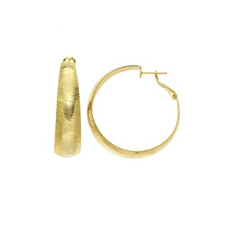 Isla Simone - Gold Plated Diamond Cut Wedding Band Hoop Earring