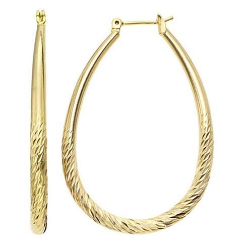 Isla Simone Women's Gold Plated Diamond Cut Tapered Oval Hoop Earring