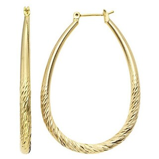 Isla Simone Women's Gold Plated Diamond Cut Tapered Oval Hoop Earring
