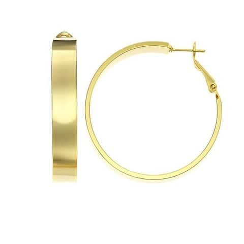 Isla Simone - Gold Plated Polished Flat Tube Hoop