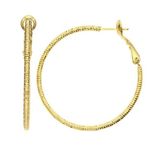Isla Simone - Gold Plated Diamond Cut Hoop Earrings