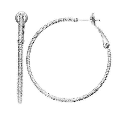 Isla Simone - Rhodium Plated Diamond Cut Hoop Earrings