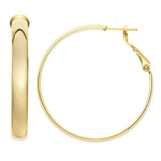 Isla Simone - Gold Plated Polished Flat Tube Hoop Earrings
