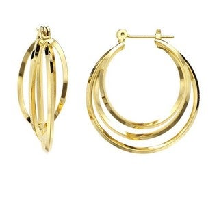 Isla Simone - Gold Plated Polished Three Interlaced Hoop Earring