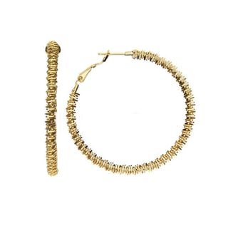 Isla Simone - 14KT Gold Plated Diamond Cut Coil Hoop