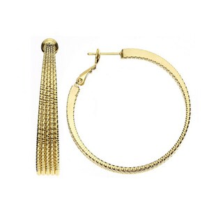Isla Simone - 14KT Gold Plated 5 Row Tapered Hoop with Diamond Cut (3 options available)