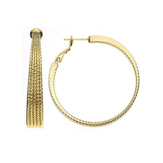 Isla Simone - 14KT Gold Plated 5 Row Tapered Hoop with Diamond Cut
