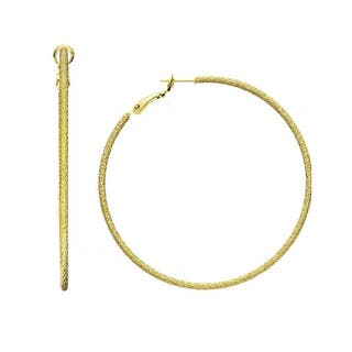 Isla Simone - T Gold Plated Textured Dc Hoop|https://ak1.ostkcdn.com/images/products/10792198/P17839525.jpg?impolicy=medium