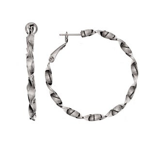 Isla Simone - Rhodium Plated Twisted Hoop Earring