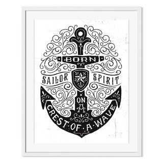 Gallery Direct Vintage Hand Drawn Flourish Anchor Illustration Print on Paper Framed Print