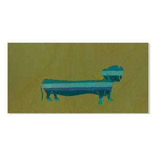 Gallery Direct Blue Dachshund Print by Trevor Mikula on Birchwood Wall Art