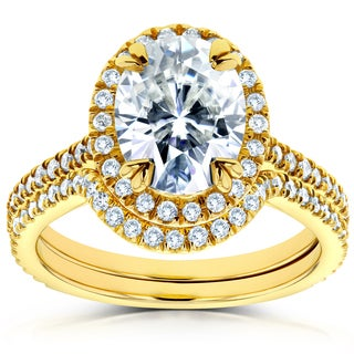 Annello by Kobelli 14k Yellow Gold Oval Moissanite and 1/2ct TDW Diamond Halo 2-Piece Bridal Rings S