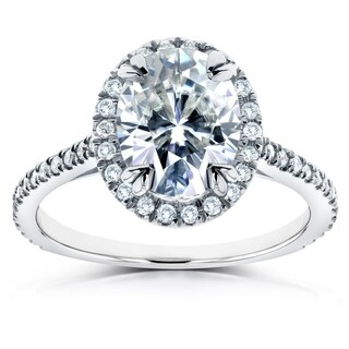 Annello by Kobelli 14k White Gold 2 1/3ct TGW Moissanite and Diamond Oval Halo Engagement Ring