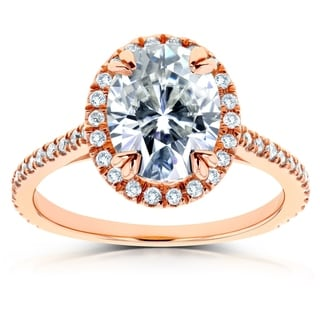 Annello by Kobelli 14k Rose Gold Oval Moissanite and 1/4ct TDW Diamond Halo Engagement Ring