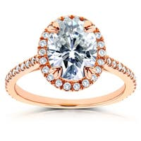 Annello by Kobelli 14k Rose Gold 2 1/3ct TGW Moissanite and Diamond Oval Halo Engagement Ring