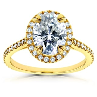 Annello by Kobelli 14k Yellow Gold Oval Moissanite and 1/4ct TDW Diamond Halo Engagement Ring