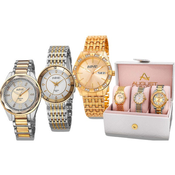August Steiner Women's Diamond- Accented Alloy Built 3-Piece Rose-Tone Bracelet Watch Set with FREE GIFT