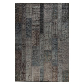 M.A.Trading Indian Hand-printed Adana Blue Vintage Print Rug (2'x3')