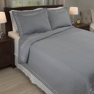 Windsor Home Valencia Embroidered 3-piece Quilt Set