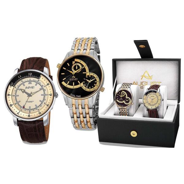 August Steiner Men's Swiss Quartz Multifunctional Two-Tone Bracelet & Leather Strap Watch Set