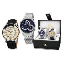 August Steiner Men's Swiss Quartz Multifunctional Alloy Bracelet & Leather Silver-Tone Strap Watch S - Silver